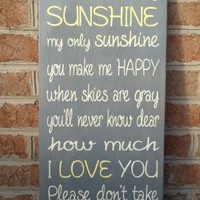 You Are My Sunshine Sign Word Art Typography Wood Sign | SignsofElegance - Housewares on ArtFire