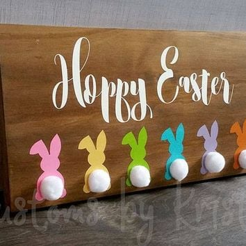 Hoppy Easter Hand Painted Wood Sign, Easter Bunny Decor, Cute Holiday Decoration