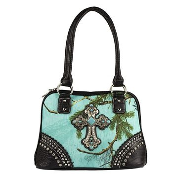 Realtree Sea Glass Blinged out Cross Handbag