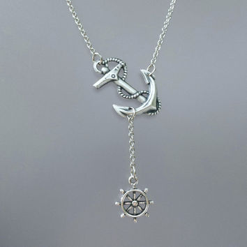 Anchor Ship Wheel Necklace by SBC, Oxidized Sterling SP Brass Anchor, Antique Silver Chain, Sideway Anchor Necklace, Nautical Necklace, Ahoy