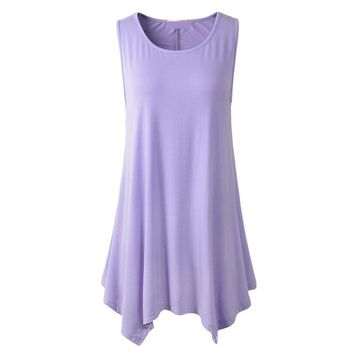 [13187]  Women Plus Size Solid Basic Flowy Tank Tops Summer Sleeveless Tunic