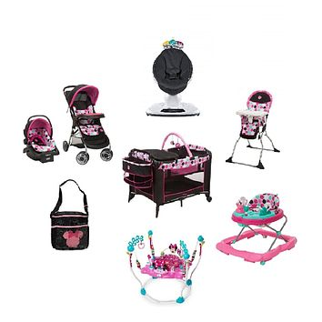Minnie Dotty Complete Baby Gear Travel System Bundle with Swing & Diaper Bag