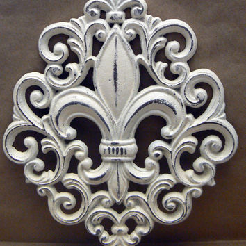 Fleur de lis Ornate Decorative Cast Iron Painted Off White (Cream) Distressed Wall Decor French Decor, Paris, Shabby Chic