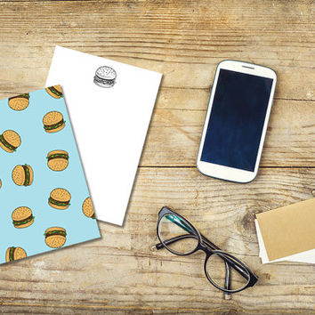 Printable Stationary Set - Burgers - Notes / Card / Gift Tag / Envelope