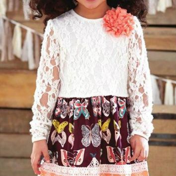 Peaches N Cream Lace Fall Butterfly Dress