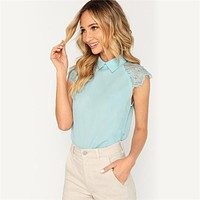 Elegant Blouse Contrast Lace Top Office Ladies Workwear Turn Down Collar Sleeveless Tops and Blouses