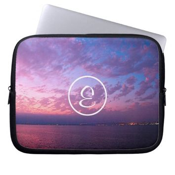 Purple sunset photo custom monogram laptop sleeve