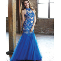 Royal Blue Embroidered Halter Mermaid Gown