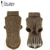 Pet Turtleneck Sweater Korean Warm Wind Retro Colors Loose Cuffs Solid Fashion Warm Dog Puppy Sweaters Cat Clothes