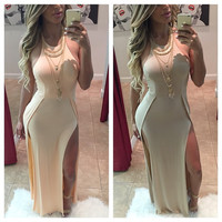 Sleeveless Double Side Slit Maxi Dress