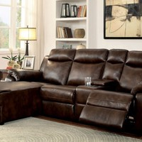 2 pc Hardy collection Brown faux leather upholstered sectional sofa with chaise and recliner