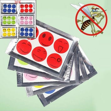 15/30 Packs Anti Mosquito Patch Mozzie Insect Bug Bugs Repellent Smiley Face Stickers Patches LS