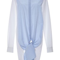 Thakoon Blue Cotton Shirting Tie Front Shirt Blue