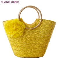 FLYING BIRDS Womens Beach Bohemian Straw Summer Travel Flower Handbag LS8880fb