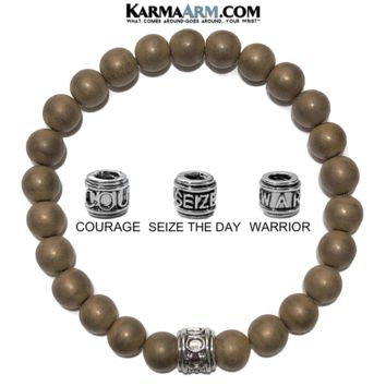 Mantra Motivation Bracelet | Matte Copper Hematite | COURAGE | SEIZE THE DAY | WARRIOR Jewelry
