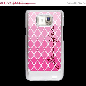 SALE Pink quatrefoil Pattern with name Samsung Galaxy S2 case, AT&T i9100 cover, Samsung Galaxy Sii cover, hard case