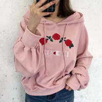 Gucci fashion embroidery rose head sweater and hoodie