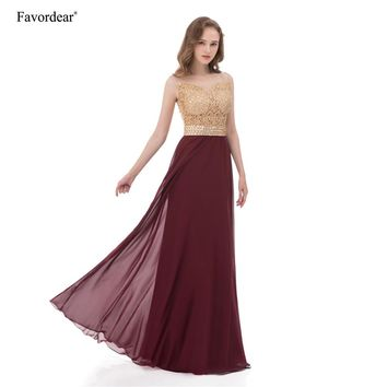 Favordear 2017 See Through Back Burgundy Prom Dresses Sleeveless Tank Long Chiffon Champagne Lace Applique Evening Dresses