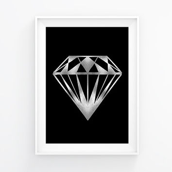 Silver diamond poster, Modern poster, Printable poster, Minimal wall decor, Scandinavian poster, Wall decor, Nordic decor, Diamond wall art