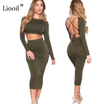Women Winter Two Piece Casual Outfits Bodycon Dress Sexy Backless Long Sleeve 2 Piece Sets Bandage Night Club Wear Party Dresses