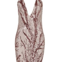 Honey Couture ELISSE Pink Sequin Deep V Neckline Mini Bandage Dress
