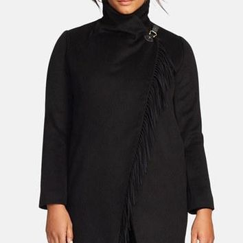Plus Size Women's Lauren Ralph Lauren Fringe Trim Asymmetrical Wrap Coat,