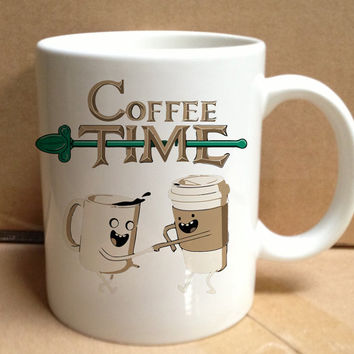 coffee time parody adventure time design for mug, ceramic, awesome, good,amazing