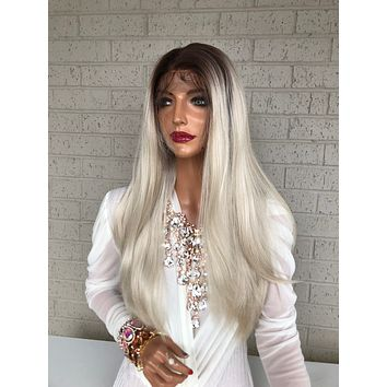 """Ombré  Blonde SWISS Lace Front Wig 18"""" Snatched 319 12"""
