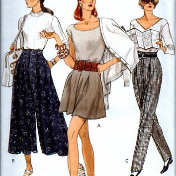 Vogue 8296 Sewing Pattern 90s Style Wide Leg or Tapered High Waist Pants Culottes Palazzo Gauchos Split Skirt Waist 23 to 25