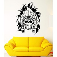 Wall Decal Skull Skeleton Eagle Feathers Sunny Headdress Vinyl Decal Unique Gift (ed335)