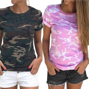 Summer Women Girls Camo Short Sleeve T-shirt Tops Ladies Casual Loose Tee Blouse