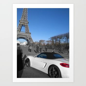 Paris eiffel tower luxury car black and white with color Art Print by Mr Splash