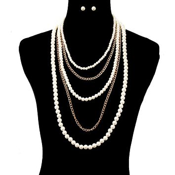 Pearl and Chain Layers Necklace Set