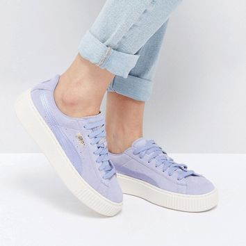 Puma Suede Satin Platform Trainers in Lilac at asos.com