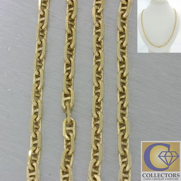 Mens 18k Yellow Gold Heavy Anchor Mariner Cable Link Chain Necklace 37.3g 23'' 4
