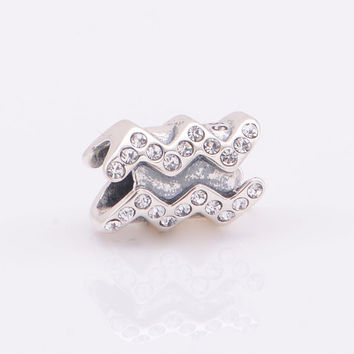 Authentic  Sterling Silver Zodiac Charm Sign Aquarius With Gift Pouch