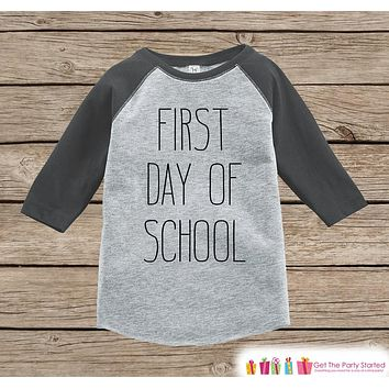Kids First Day of School Outfit - Boys 1st Day of School Shirt - Kids Grey Raglan Tee - My 1st Day of School Outfit - Back to School Shirt