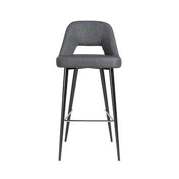 Blair-B Bar Stool in dark gray fabric with matte black powder coated steel legs