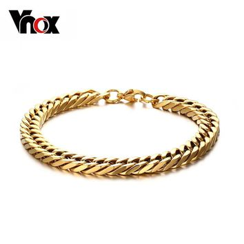 Vnox 8.5inch Length Stainless Steel Hand Chain Bracelet for Men Gold-color and Silver-color