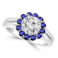 White and Blue Sapphire Raised Halo Engagement Ring with Split Band