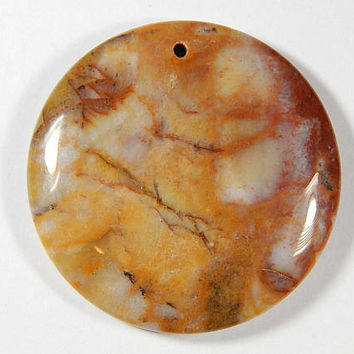1 Piece - 45x7mm Gobi Agate Gemstone Pendant Bead - Round - Agate - Gemstone Pendants - Jewelry Supplies