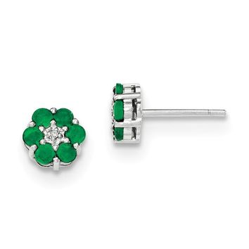 14K White Gold Solid Emerald And Diamond Post Flower Earrings