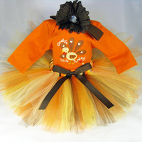 "Babys First Thanksgiving Outfit "" Daddy's Little Turkey "" Girls Tutu Set - Fall Colors Tutu Bodysuit and Headband Set - Size Newborn"