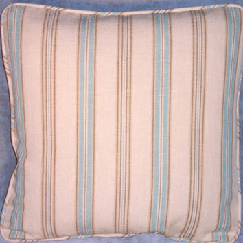 """Aqua Ticking Stripe Throw Pillow,  17"""" Square,  Blue Brown Beige Tones, Welted Ticking Cotton,   Insert Included,  Ready Ship"""