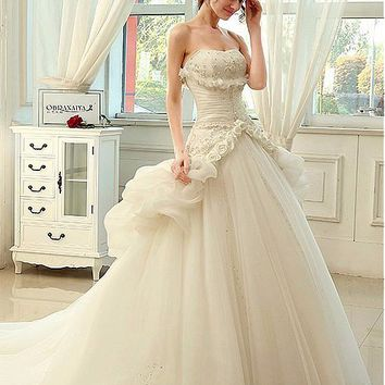 [219.99] Gorgeous Organza & Tulle Strapless Neckline 2 in 1 Wedding Dresses with Handmade Flowers - Dressilyme.com