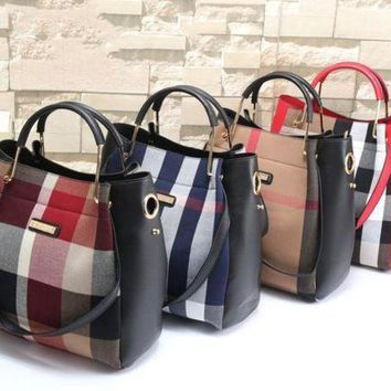 CREYUP0 Burberry Women Leather Shoulder Bag Satchel Tote Handbag Crossbody Two Piece Set