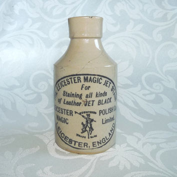 Magic Jet, Leather Stain, Pot 03, English, Collectable, Stoneware, Crock, Victorian, Transfer Print, Antique