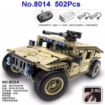 8014 502pcs Technic Military Remote Control RC Armed Hummer Car Building Block Brick Toy