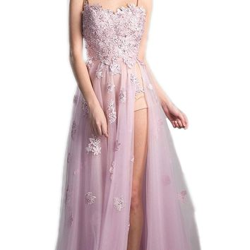 Cinderella Divine - Floral Embroidered Tulle A-line Prom Dress