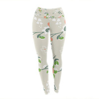 "Very Sarie ""Early Waking"" Green Floral Yoga Leggings"